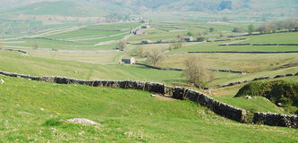 Yorkshire Dales (UK). Stone wall pattern and cottages at Malham, Yorkshire Dales National Park, United Kingdom Royalty Free Stock Images