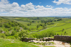 Yorkshire Dales view from Malham Cove UK. In summer with blue sky Stock Photo