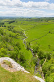 Yorkshire Dales view from Malham Cove UK. In summer with blue sky Royalty Free Stock Photos