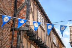 Yorkshire-Flagge in York-heillosem Durcheinander Stockbilder