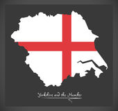 Yorkshire and the Humber map with flag of England illustration Royalty Free Stock Image