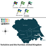 Yorkshire and the Humber, United Kingdom. Vector map of Yorkshire and the Humber, United Kingdom with regions and flags Stock Images