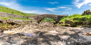 River Skirfare, near Litton, North Yorkshire, England, UK. Yorkshire landscape with the dried-up River Skirfare near Litton, North Yorkshire, England, UK stock photos