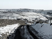 Yorkshire moors covered in snow with road Stock Photos