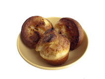 Yorkshire Pudding. A served dish of delicious Yorkshire pudding, isolated on a white background Stock Image