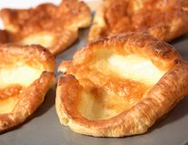 Yorkshire puddings in baking tin Stock Image