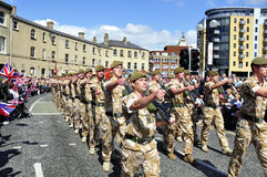 Yorkshire Regiment troops. The Yorkshire Regiment troops marching through the town of Hull Stock Image