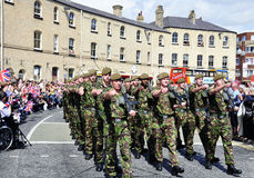 Yorkshire Regiment troops. The Yorkshire Regiment troops marching through the town of Hull Stock Photography