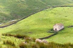 Yorkshire-Täler mit Scheune Stockfotografie