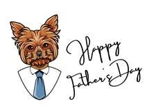 Yorkshire teriera tata Ojca dnia kartka z pozdrowieniami Koszula, krawat, krawat Ojca dnia symbole Tata powitanie pies jest portr Obraz Stock
