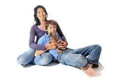 Yorkshire terrier and asian family Royalty Free Stock Photo