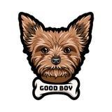 Yorkshire terrier. Bone. Dog portrait. Good boy inscription. Vector. Yorkshire terrier. Bone. Dog portrait. Good boy inscription Vector illustration Royalty Free Stock Photos