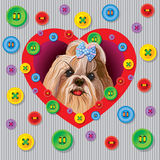 Yorkshire terrier. Greeting vector card with a Yorkshire terrier with decorative buttons stock illustration
