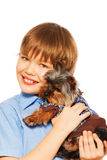 Yorkshire Terrier in pullover with smiling boy Stock Photo