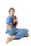Yorkshire terrier and young boy Royalty Free Stock Photography