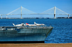 Yorktown aircraft carrier with Ravenel bridge Stock Photo