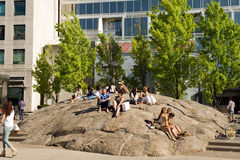 The Yorkville rock in Toronto. The Yorkville rock is one of Toronto's best known areas to hangout and people-watch.  Yorkville is a posh area of Toronto where Royalty Free Stock Image