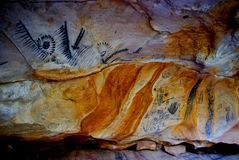 Yorumbulla Caves, Flinders Ranges. The beautiful and remote Flinders Ranges are an interesting destination. Here, Ancient Aboriginal paintings grace the wall of royalty free stock photo