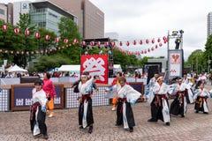 YOSAKOI Soran Festival De krachtige parade van dansprestaties in Odori-Park, Sapporo-Stad stock afbeeldingen