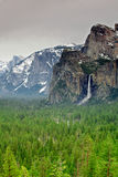 Yosemite Bridal Veil falls and valley Royalty Free Stock Images