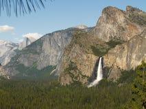 Yosemite: Bridalveil Fall & Half Dome. View of Yosemite Valley with Bridalveil Fall and Half Dome stock image