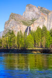 Yosemite Bridalveil fall waterfall at National Park Royalty Free Stock Images