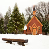 Yosemite Chapel. Winter scene with the chapel at Yosemite Valley, California Royalty Free Stock Photos
