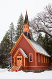 Yosemite Chapel. Winter scene with the chapel at Yosemite Valley, California Stock Photography