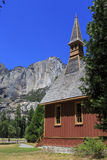 Yosemite chapel and upper yosemite fall Royalty Free Stock Photo