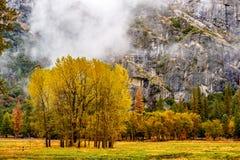 Yosemite dal på den molniga höstmorgonen Fotografering för Bildbyråer
