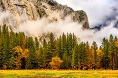 Yosemite dal på den molniga höstmorgonen Arkivbilder
