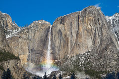 Yosemite fall with rainbow Stock Images