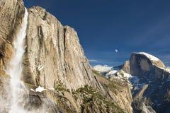 Yosemite Falls and Half Dome in Winter. Yosemite Falls and a snow covered Half Dome in Winter stock image
