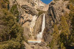 Yosemite Falls with Rainbow Royalty Free Stock Images