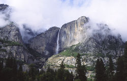 Yosemite Falls in storm clouds Stock Photos