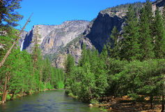 Yosemite Falls In summer On A Clear Day Stock Images