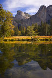 Yosemite Falls from the valley floor. Yosemite Falls in autumn, from the valley floor Royalty Free Stock Photo