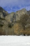 Yosemite Falls in Winter. Panoramic view of Yosemite Falls in Yosemite National Park in California during winter Royalty Free Stock Photos