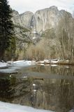Yosemite Falls in Winter Stock Image