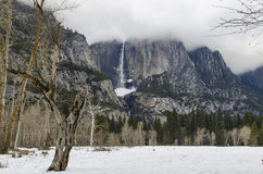 Yosemite Falls Winter Scene Royalty Free Stock Images