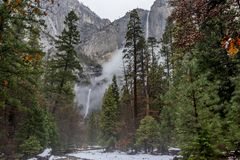 Yosemite Falls in Winter royalty free stock photo