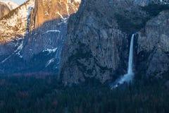 Yosemite Falls in Winter at sunset Royalty Free Stock Photos