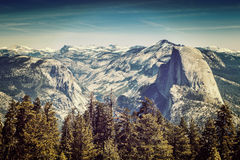 Yosemite Half Dome. Yosemite National Park, Half Dome from Sentinel Dome, with an instagram filter Stock Photography