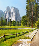 Yosemite  Hiking Trail. Cathedral rock view trail Stock Photography