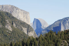 Yosemite Landscape. The Half Dome rock formation at the Yosemite National Park royalty free stock images