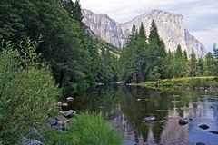 Yosemite Merced River. Yosemite Valley and Merced River. United States of America National Parks Photography Collection. Yosemite in Summer Royalty Free Stock Photos
