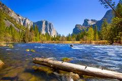 Yosemite Merced River el Capitan and Half Dome. In California National Parks US Stock Images