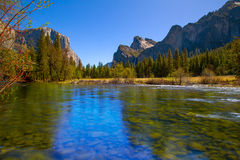 Yosemite Merced River el Capitan and Half Dome Stock Images