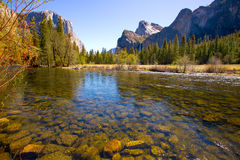 Yosemite Merced River el Capitan and Half Dome Royalty Free Stock Photography