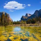 Yosemite Merced River el Capitan and Half Dome Stock Image